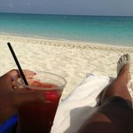 Having my morning bloody mary on the beach!