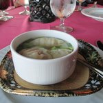 Wonton soup served elegantly
