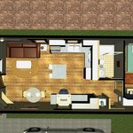 Partial view on one bedroom floor plan