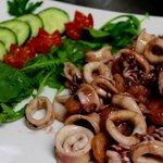 Calamari and Gamberi in special sauce.