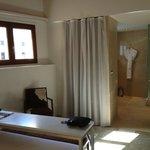 Room 407, closet behind curtain