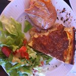 Ham & cheese baguette, quiche with a side salad