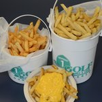 flavored fries & cheese sauce