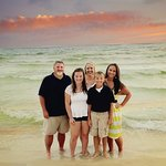Aaaah, family in front of PCB sunset.