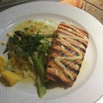 Mango Salmon with 3olives vodka mango reduction over Risotto w Asparagus