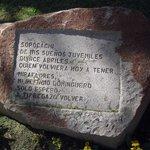 A poem on stone at the Montículo, La Paz