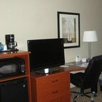 Coffee maker, micro, fridge, TV and desk