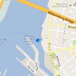 マップでの現在地~Queensの船着場
