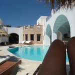 Pool area by day at Meltemi Suites