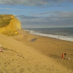 the beach with the Jurassic cliffs