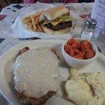 Chicken Fried Steak and Burger