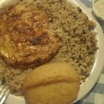 Blackened chicken breast with dirty rice