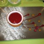 dessert : crème avec coulis
