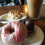 bacon scone and strawberry and chocolate donut... all homemade. yumm
