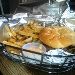 Burger basket with Chipotle Mayo
