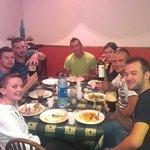 Our happy Swiss friends enjoying dinner in Muiris Dans