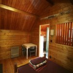 inside one of the Cozy Cabins