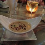 white bean soup with truffle oil and pancetta