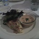 Salmon quiche with crab bisque