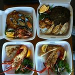seafood platter and cooked whole crayfish