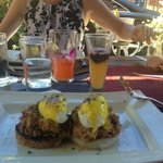 pork belly on crispy rice with poached eggs - delicious!!