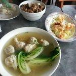 Plain wonton noodle soup, spare ribs over rice and walnut shrimp