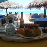 Guacamole and chips at beachfront restaurant