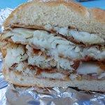 half portion fish sandwich, cut in 1/2