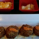 Crab Cakes with Cheese Grits and Coconut Rice