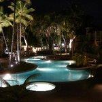 Amazing pool, beautiful at night!