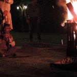 Folk dance around bonfire
