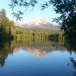 Nearby Mt Lassen with reflection off of Manzanita Lake.