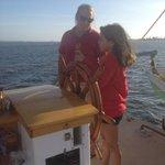 Learning how to steer the schooner.