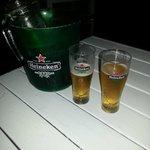 Bucket of draft Heineken was great for warm evening