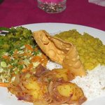 A plate full of home cooked goodness from Happy Spice