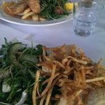 calamari and tempura baramundi