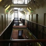 Hall in hotel showing prison style