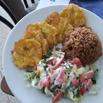 Tostones, Salad and Brown Rice