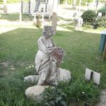 One of the statues in the garden