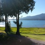 "The ""million dollar"" view of Lake Quinault from a Village Inn room at Rain Forest Resort Village"