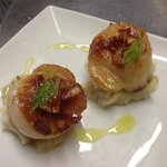 fresh scallops with parsnip and butterbean purée, fried Serrano and fennel leaf