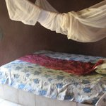 Room with mosquito net