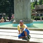 My Son at the Fountain at Bestor Plaza.