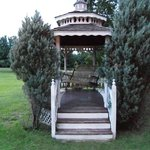 Gazebo with swing on the side of the property
