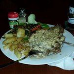 250g Rump Steak, Medium Rare, Mushroom Sauce, Chips, Vegetables, $10. Unbelievable value!