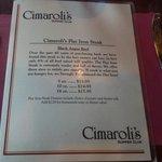 Cimaroli's Menu Cover - Briggsville / Portage Wisconsin
