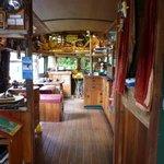 Looking into the Lost Gypsy Galley bus.