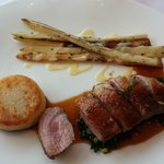 Duck,white asparagus and potato fondant