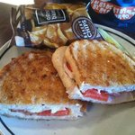 club panini with cheese, tomato, mayo and turkey (I think). Chips and pickle included in price.