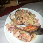 Casa Esmeralda Seafood pasta in wine & garlic reduction.
